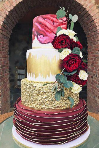 metallic wedding cake textured burgundy gold cake elisespieces22