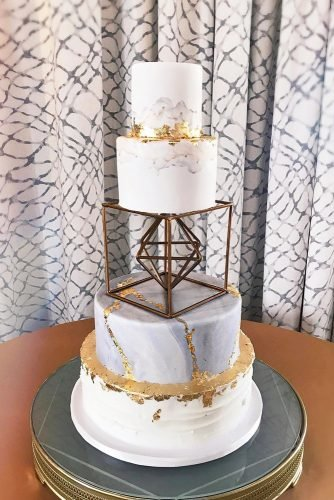 metallic wedding cake unique modern cake elisespieces22