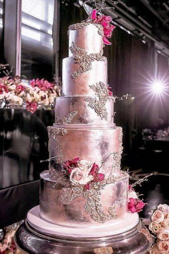 metallic wedding cake unique silwer cake inlightenphotography
