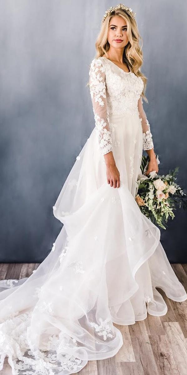 modest wedding dresses a line with long sleeves floral lace elizabethcooperdesign