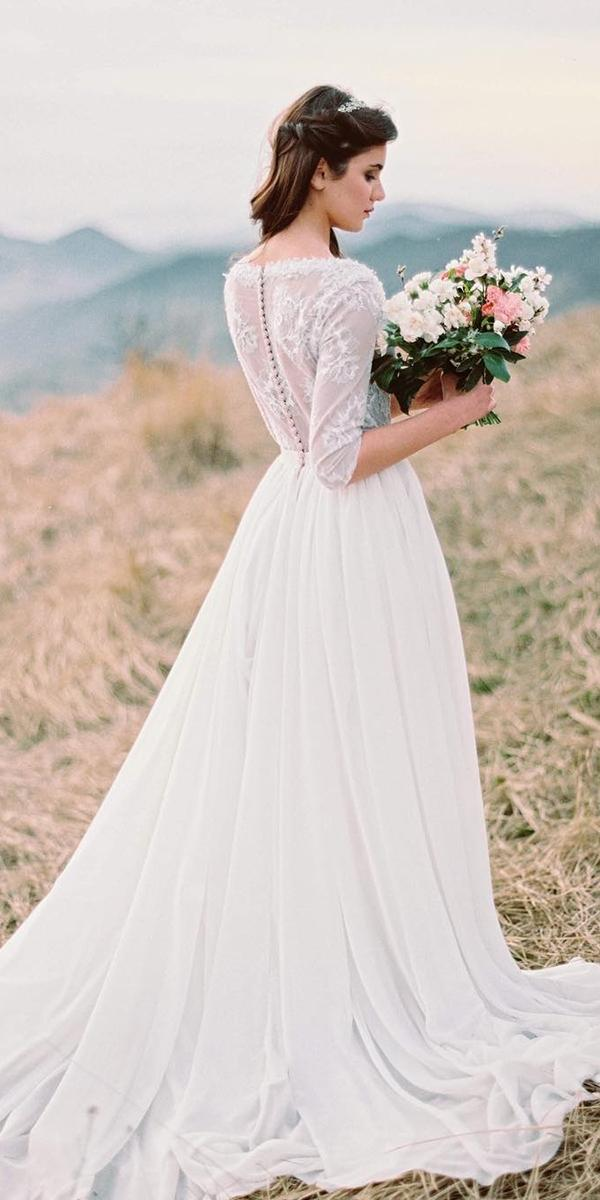 modest wedding dresses a line with three quote sleeves lace top for boho country cathy telle