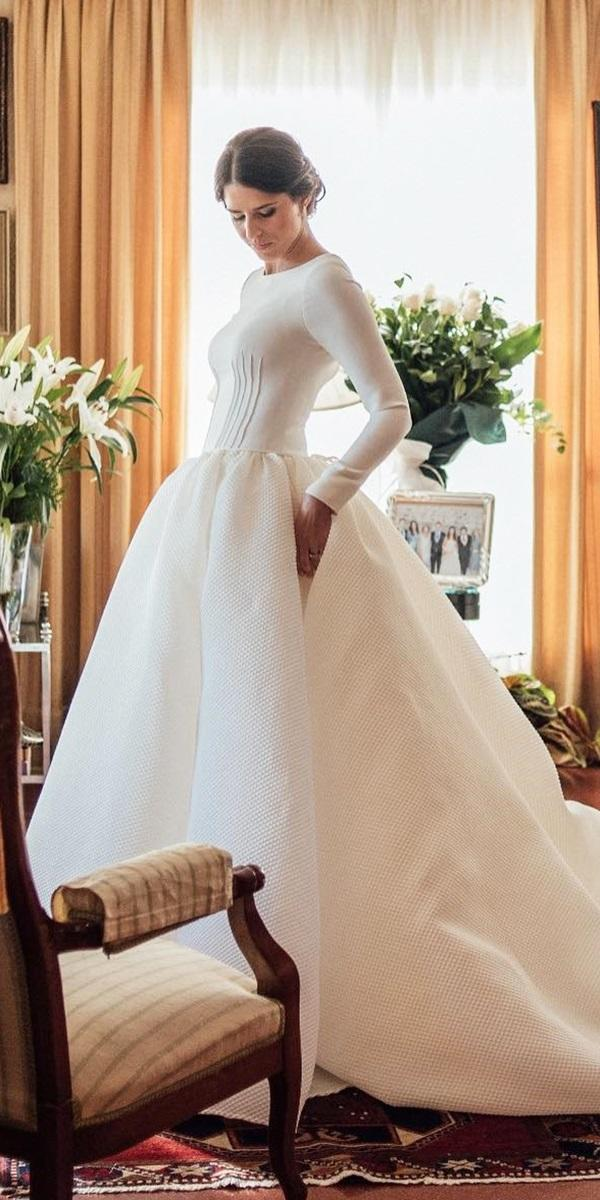 modest wedding dresses ball gown with long sleeves simple kiwo estudio
