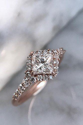 princess cut engagement rings rose gold pave band diamond halo