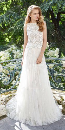 rosa clara wedding dresses boho style lace jacket with halter neckline