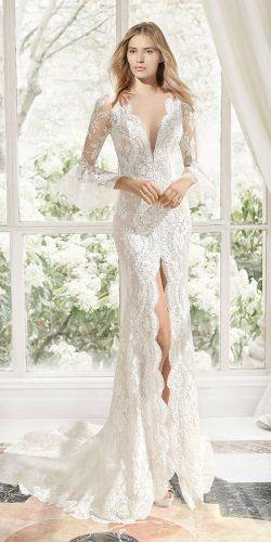 rosa clara wedding dresses mermaid with long sleeves plunging neckline full lace slit