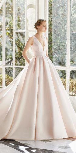 rosa clara wedding dresses princess deep v neckline rose color simple