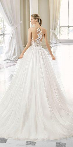rosa clara wedding dresses princes illusion lace back silk skirt