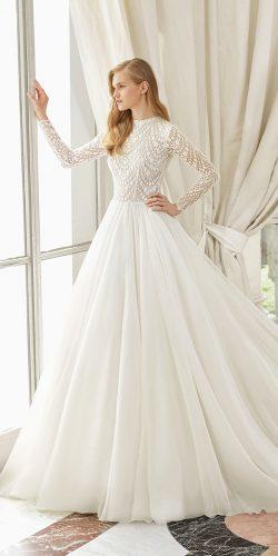 rosa clara wedding dresses princess with long sleeves lac embroidered tulle skirt