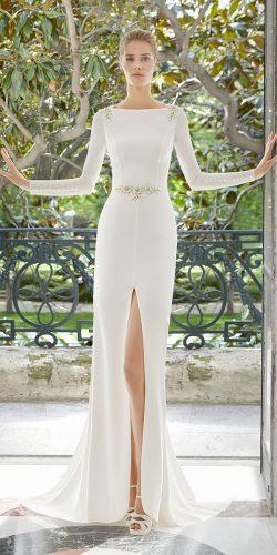 rosa clara wedding dresses sheath with long sleeves slit 2019 elegant