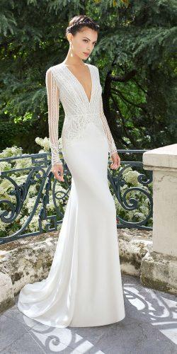 rosa clara wedding dresses with long sleeves deep v neckline lace 2019