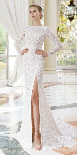 rosa clara wedding dresses with long sleeves sexy beaded embroidered with slit 2019