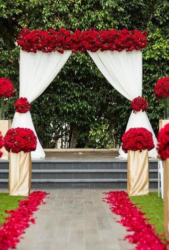 valentines day wedding ideas white red arch Lin Jirsa Photography
