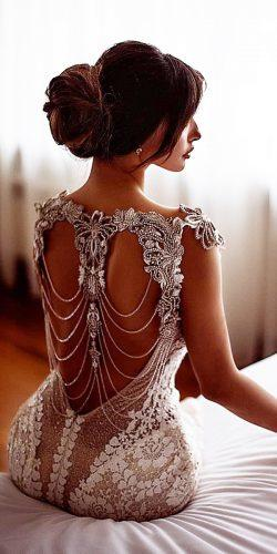 vintage inspired wedding dresses open back jeweled beaded galialahav