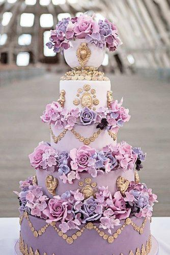 wedding colors 2019 crocus lavender violet tall cake with gold details on tall bridal cake elizabethscakeemporium