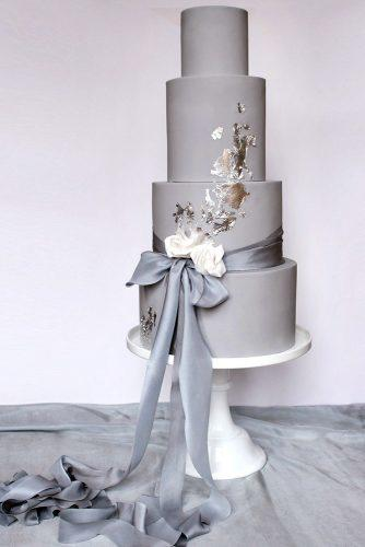 wedding colors 2019 grey tall bridal cake with ribbons and gold foil wildflower_cakes