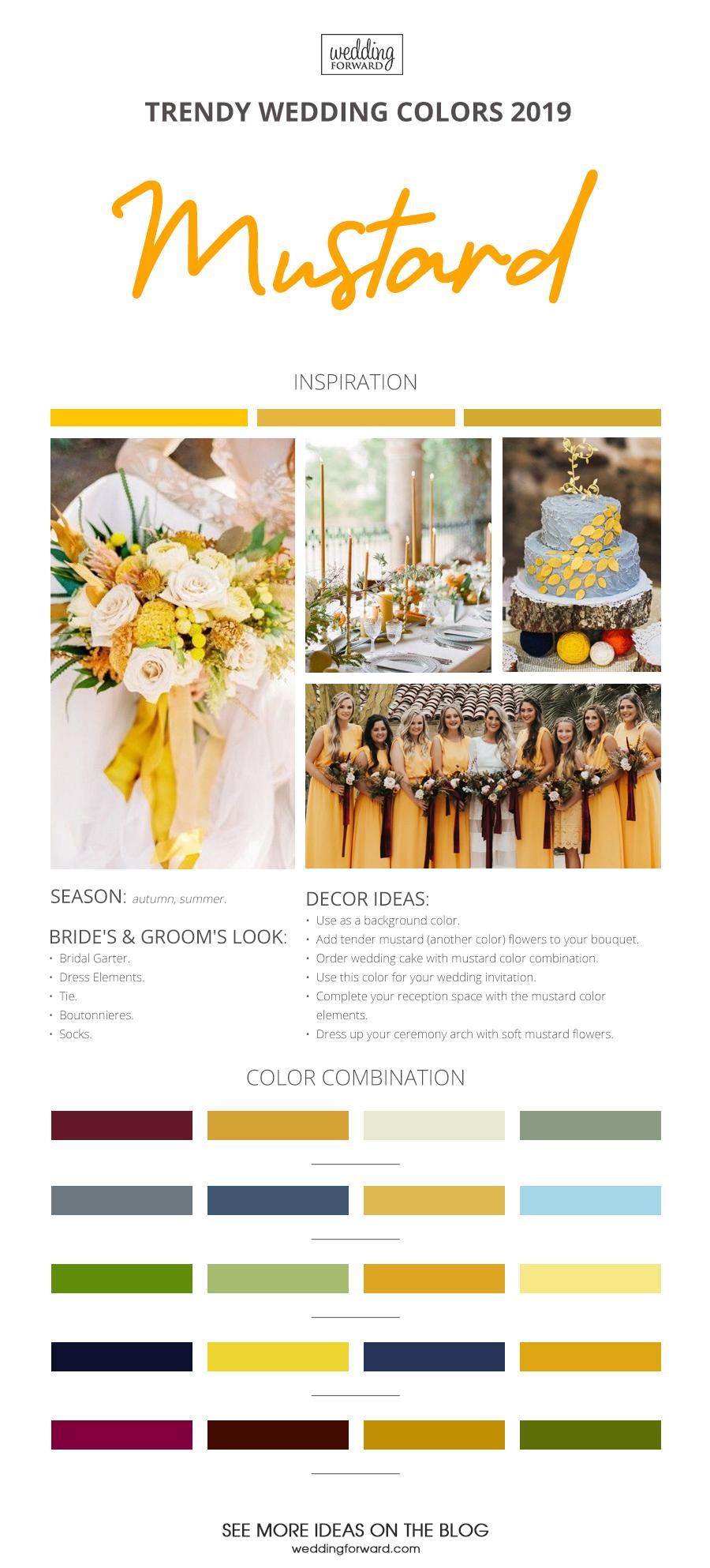 wedding colors 2019 mustard