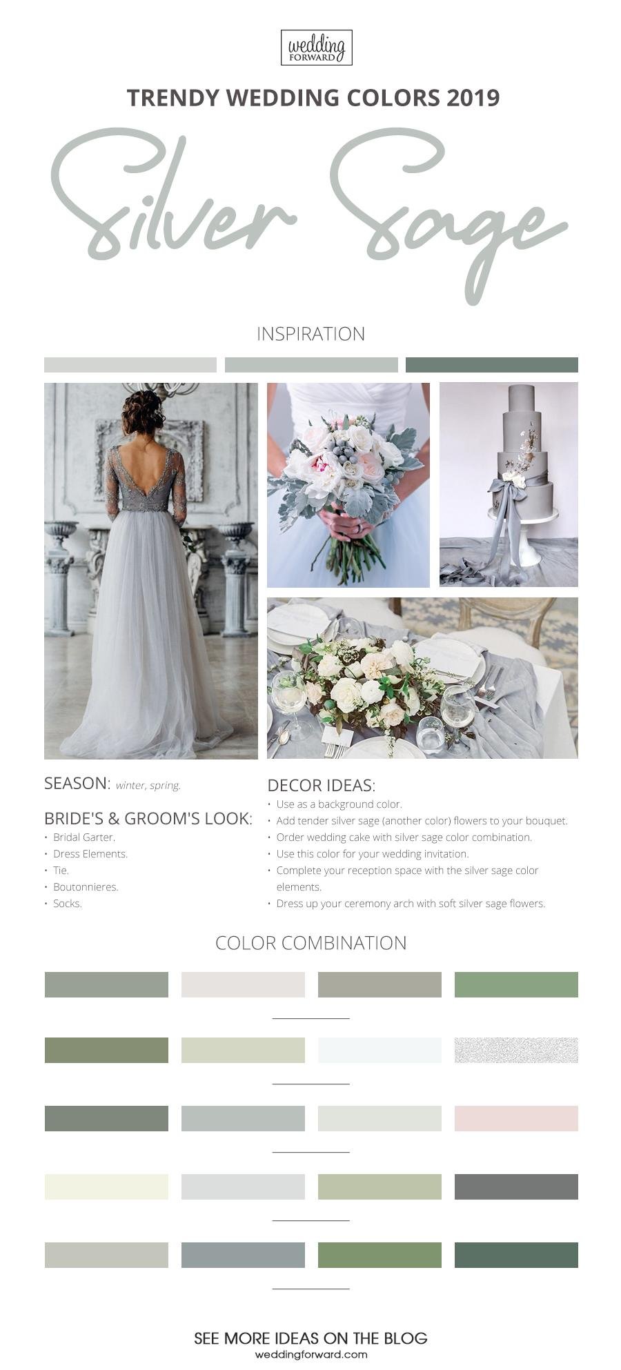 wedding colors 2019 silver sage