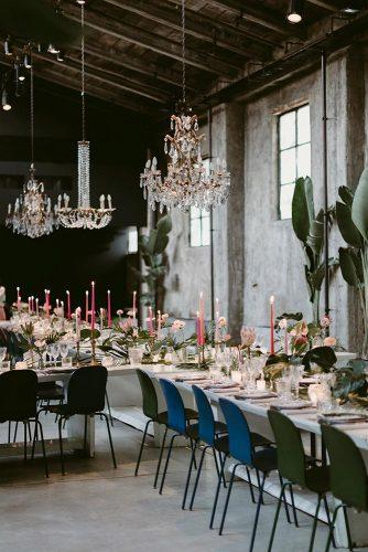 wedding decor 2019 industrial reception dsrk chairs pink candles and elegant chandeliers ilbaccellodivaniglia