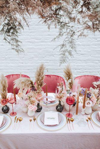wedding decor 2019 pampas grass bridal pale pink table centerpieces ideas tina chiou photography