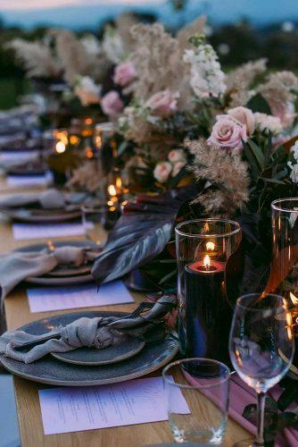 wedding decor 2019 pampas grass tablerunner with candles and pale pink roses jessicaabbyphotography