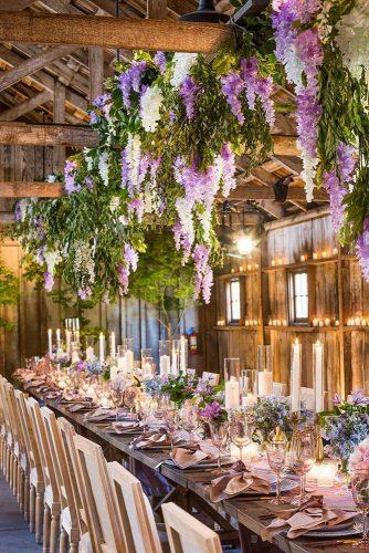 wedding decor 2019 romantic barn candles and lilac hanging flowers whitelilacinc