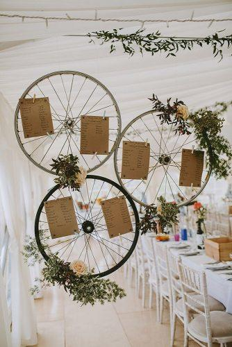 wedding decor 2019 shabby chic bohemian tablesetting on wheels with greenery and roses thecurries