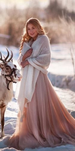 winter wedding dresses outfits a line with cape blush skirt staskhachatryan