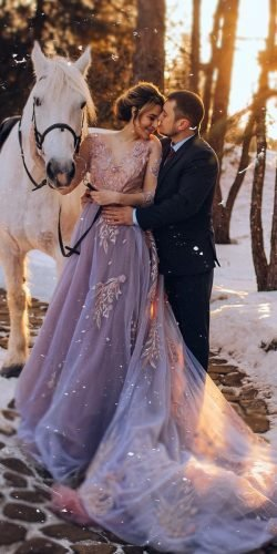 winter wedding dresses outfits a line with sleeves floral appliques purple train olganikiforova