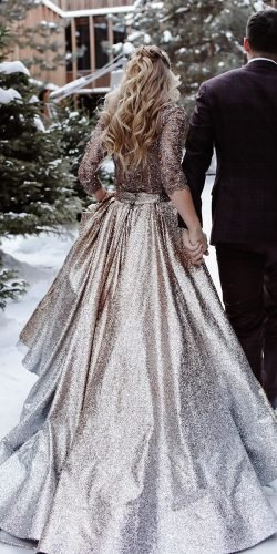 winter wedding dresses outfits a line with sleeves sequins gold lace katesofficial