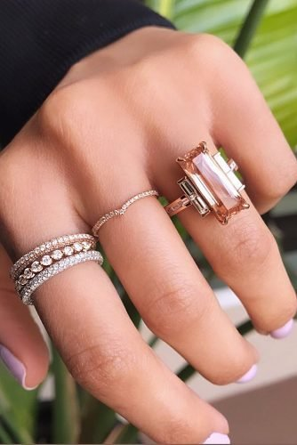 anniversary rings solitaire modern morganite bands