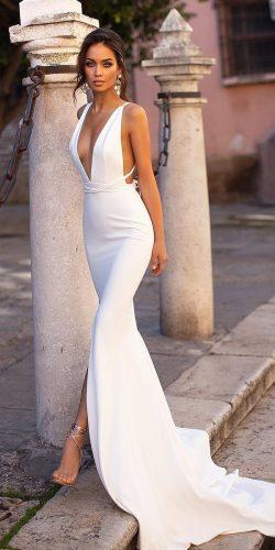 beach wedding dresses sheath simple deep v neckline with train alamourthelabel
