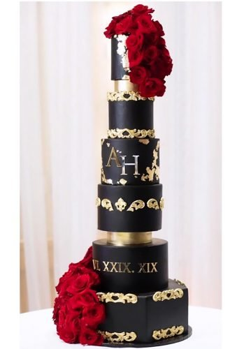 black wedding cake big cake with gold and red flowers cake n bake cakes