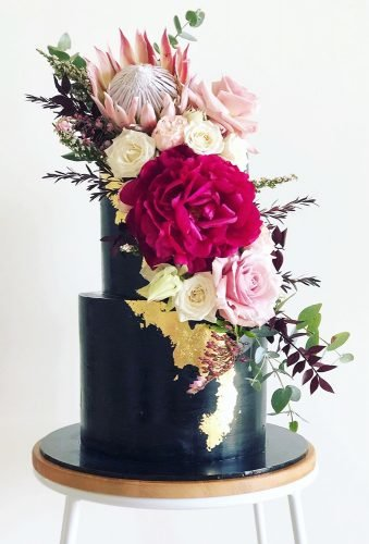 black wedding cake floral black cake sprinkle shop