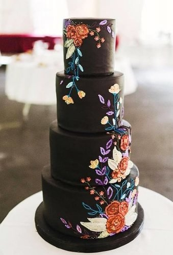 black wedding cake hand painted ristic cake milkandhoneymi