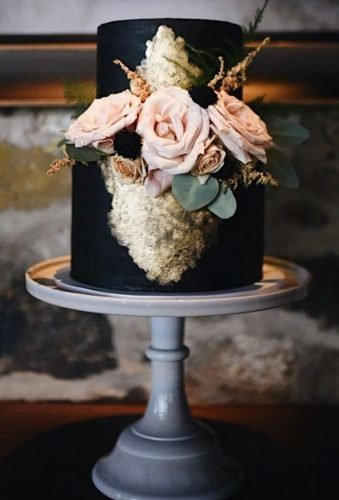 black wedding cake small black cake figandbloomcakes