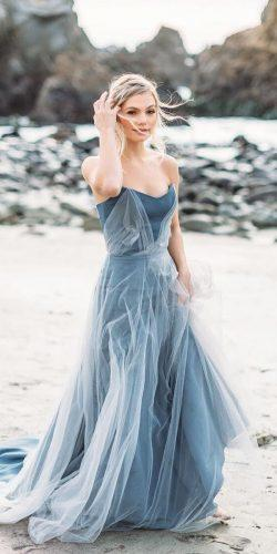 blue wedding dresses a line strapless neckline dark taralatou