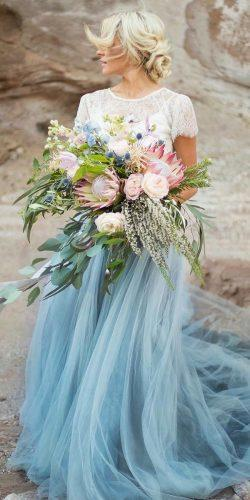 blue wedding dresses a line with cap sleeves lace top tulle skirt chantellaurendesigns