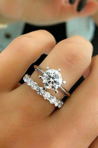 bridal sets classic simple round cut diamond wedding set