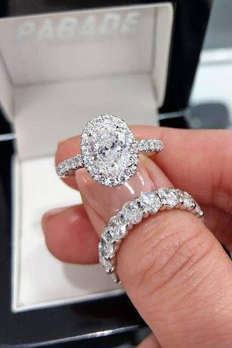 bridal sets oval cut diamond halo white gold pave band