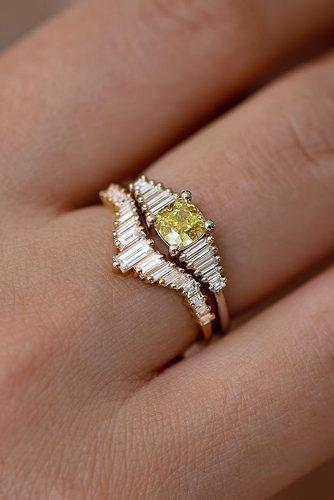 bridal sets unique set rose gold yellow diamond wedding set