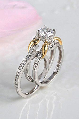 bridal sets white gold round cut diamond unique wedding set