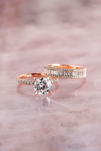 diamond wedding rings rose gold engagement rings round cut engagement rings bridal sets classic rings princessbridediamonds