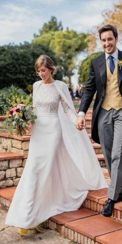 modest wedding dresses with cape long sleeves rosa clara