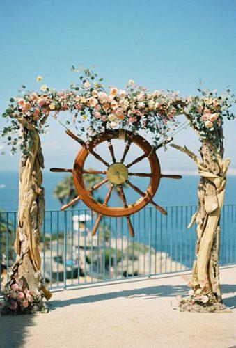 nautical wedding decor ideas nautical arch with flower ashleykelemen