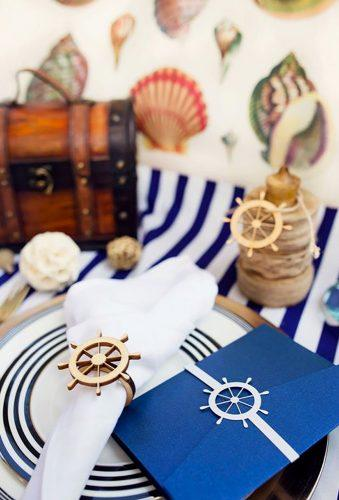 nautical wedding decor ideas white blue napkins InaBow