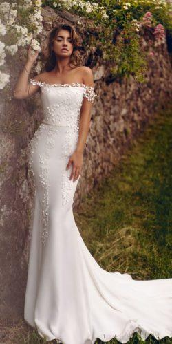 off the shoulder wedding dresses mermaid off the shoulder floral appliques satin stephanie allin