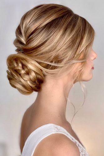 rustic wedding hairstyles volume low bun with braids kasia_fortuna