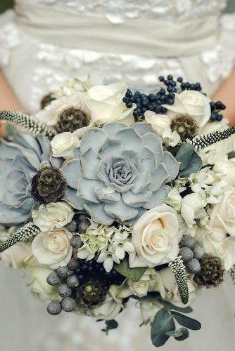 silver sage wedding bouquet with succulents and white flowers emmalawsonphoto