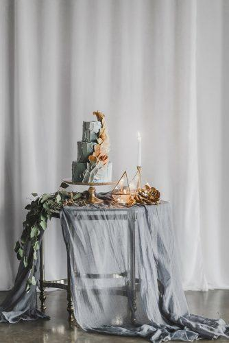 silver sage wedding cake table with cloth geometry and modern dessert catalina jean photography