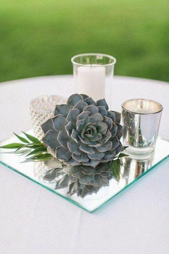 silver sage wedding centerpiece mirror and succulent almond leaf studios